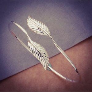 Sterling Silver Leaf Cuff Bangle Bracelet
